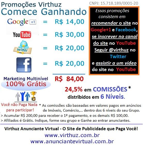 Promoções Virthuz. Comece Ganhando R$ 64,00